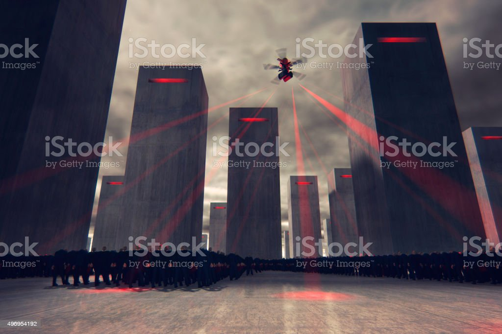 Futuristic cityscape with businessmen zombies under control stock photo