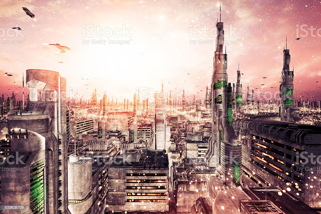 Futuristic cityscape with dense architecture and flying aircrafts stock photo