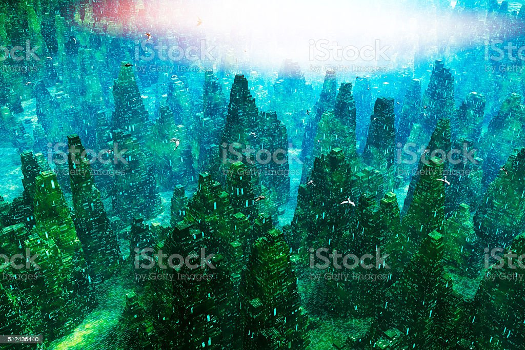 Futuristic cityscape with flying spaceships stock photo