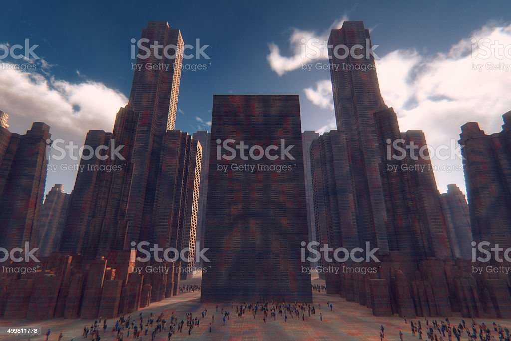 Futuristic cityscape with people on the streets stock photo