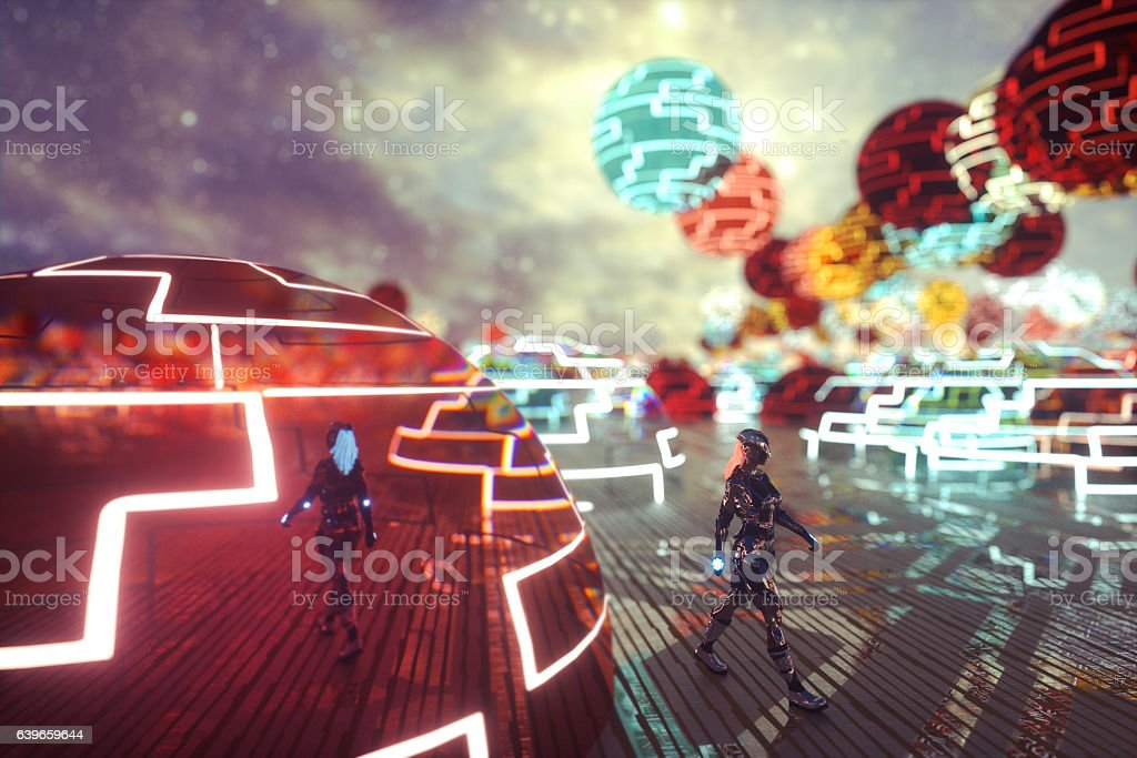Futuristic cityscape with walking cyborg stock photo