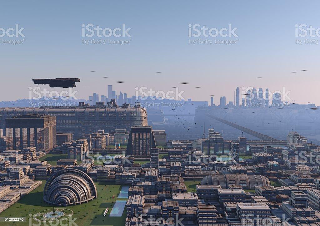 civilización futurista stock photo