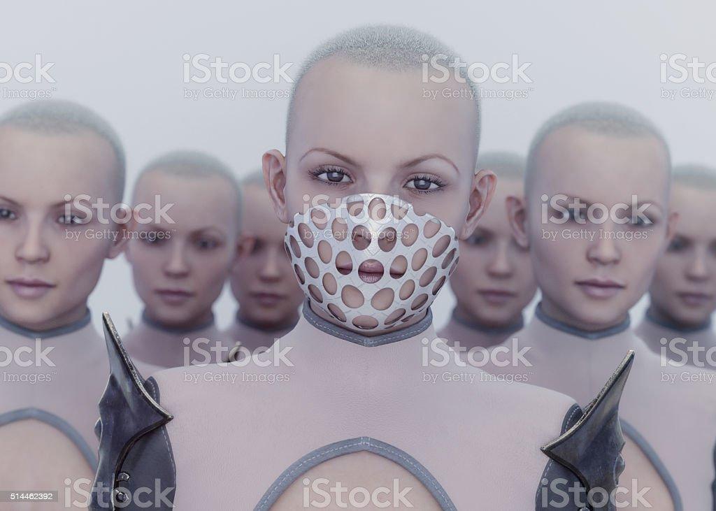 futuristic clones stock photo