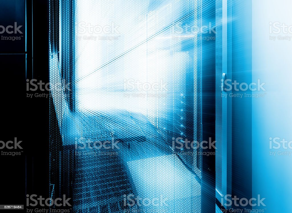futuristic control terminal of supercomputing cluster management in  data center stock photo