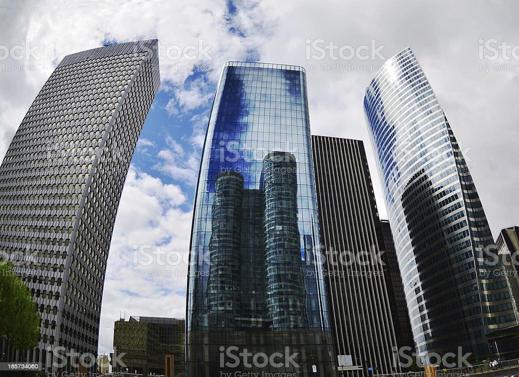 Futuristic Corporate Buildings in La Defense Paris stock photo