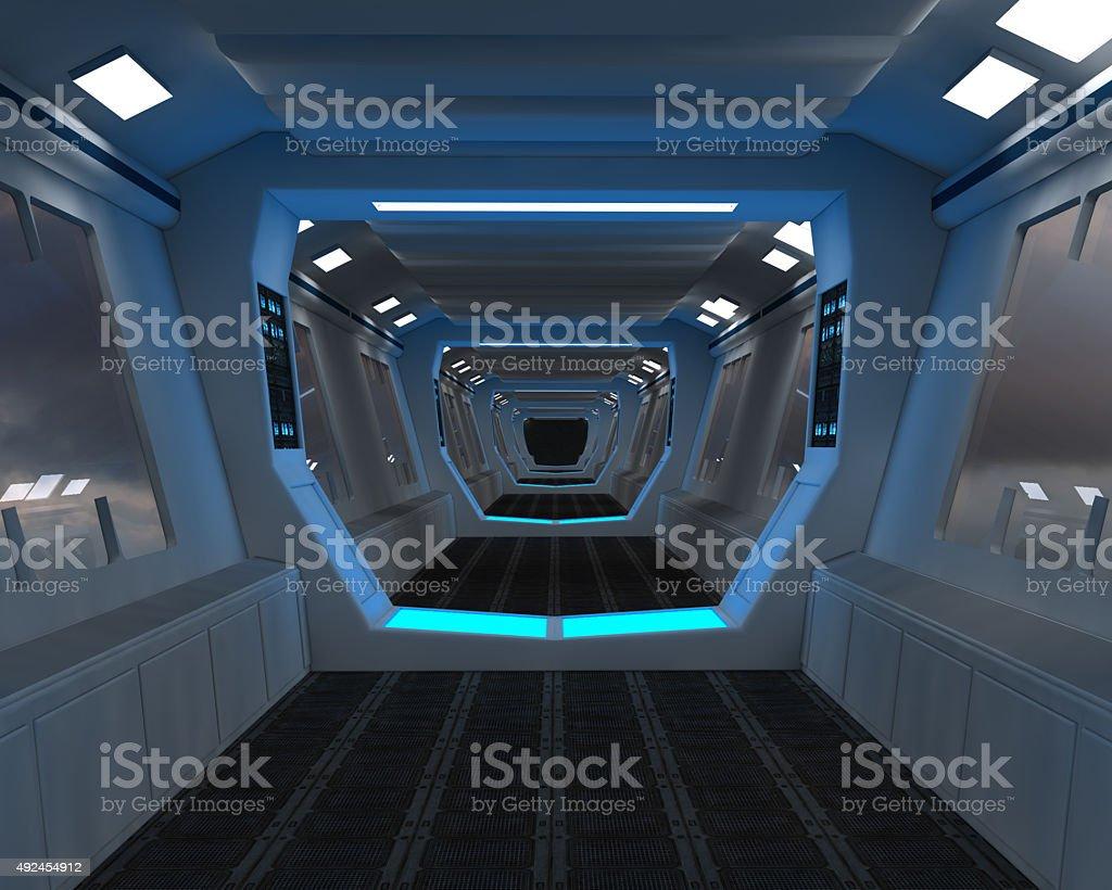 Futuristic corridor interior stock photo