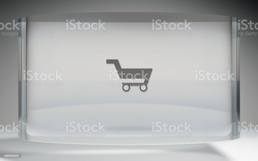 futuristic crystal display shopping kart on top stock photo