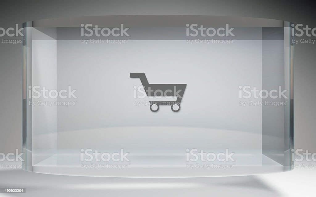 futuristic crystal display shopping kart stock photo