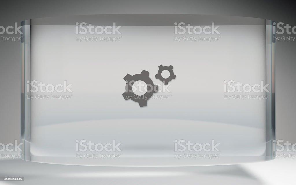 futuristic crystal display tools on top stock photo