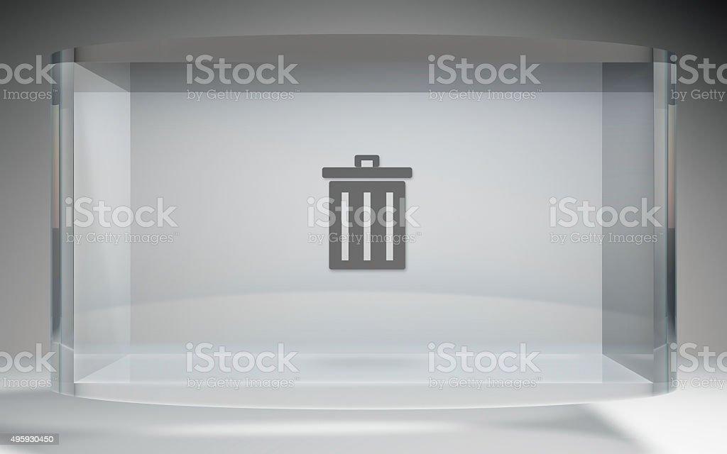 futuristic crystal display trash delete stock photo