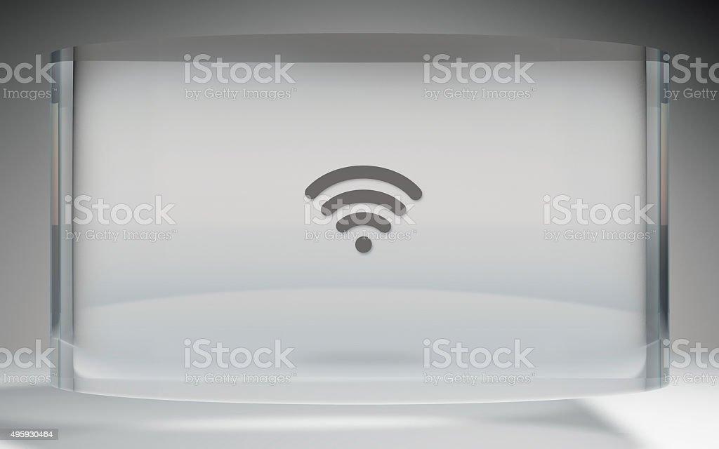 futuristic crystal display wifi on top stock photo