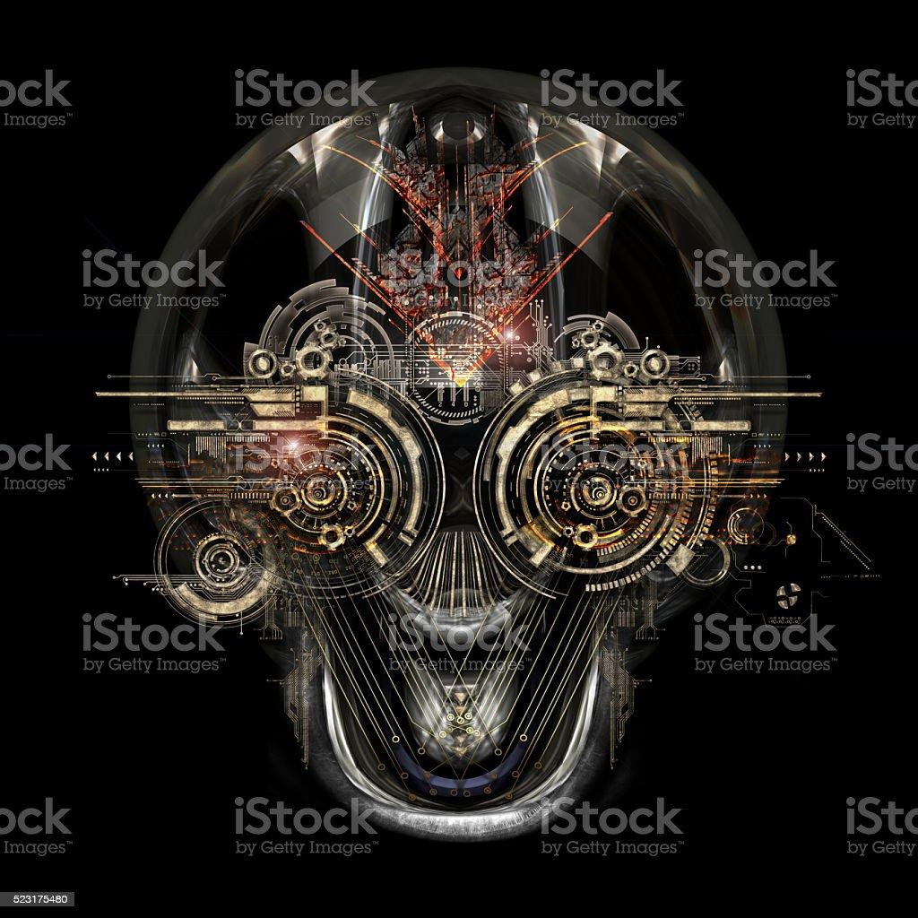 futuristic cyborg face stock photo