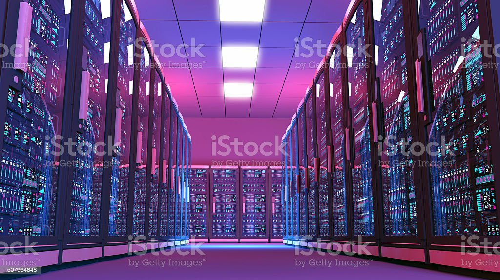 Futuristic data center room, aisle surrounded by rows of servers stock photo