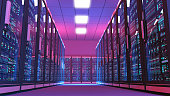 Futuristic data center room, aisle surrounded by rows of servers