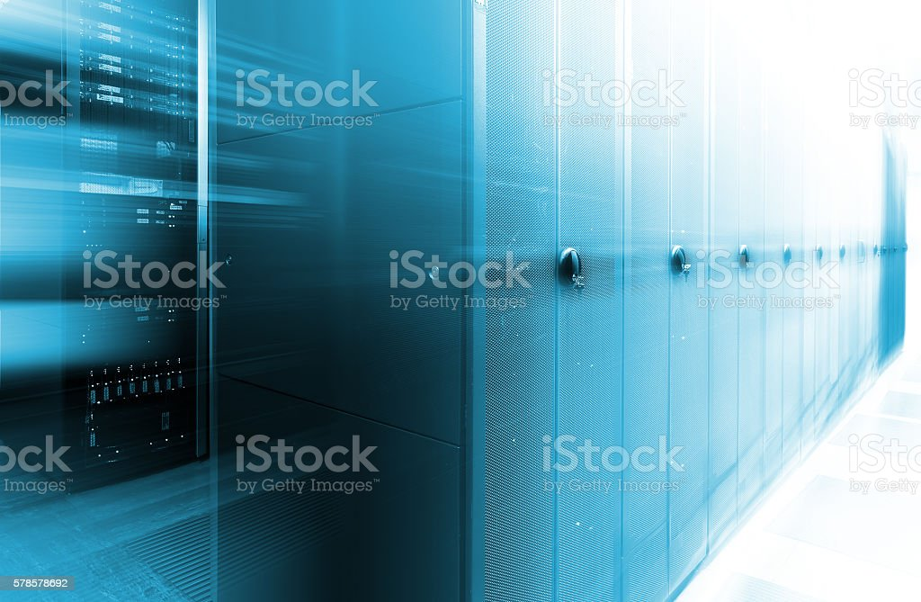 futuristic data center with rows of supercomputers motion blur stock photo
