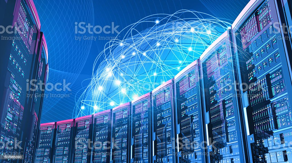 Futuristic data center with servers, blue network of global connections stock photo