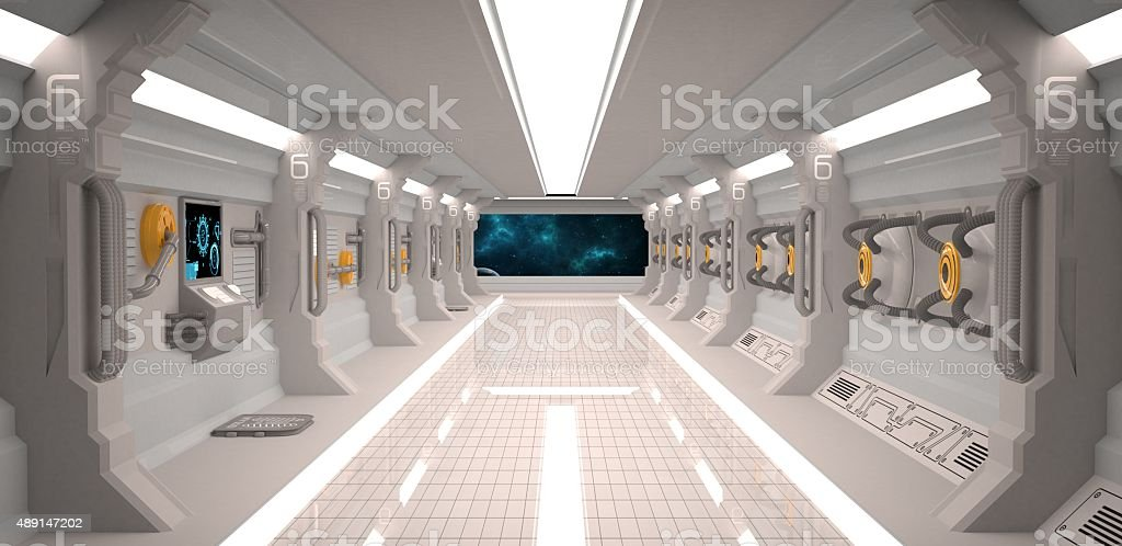 Futuristic design spaceship interior with metal floor and light panels stock photo