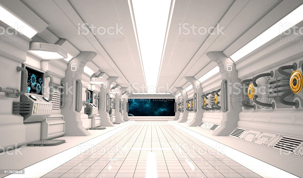 Futuristic design spaceship interior with metal floor and light panels. stock photo