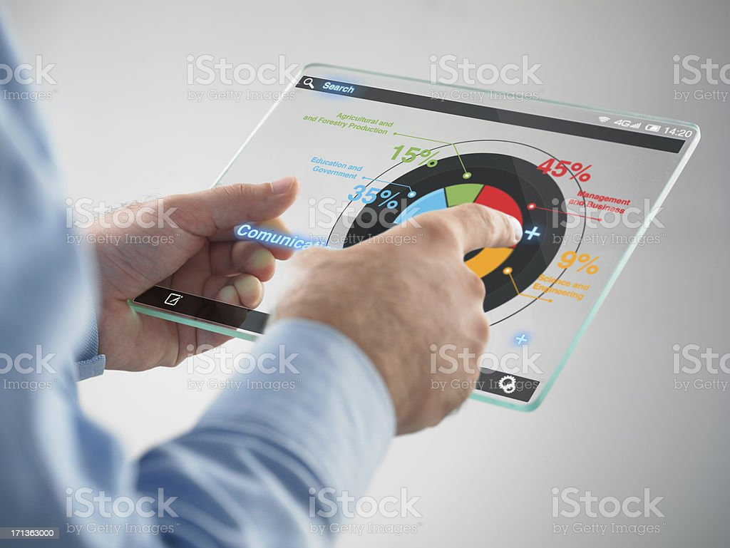 Futuristic digital tablet in the hands stock photo