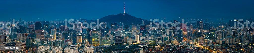 Futuristic downtown cityscape illuminated skyscrapers neon highrise panorama Seoul Korea stock photo