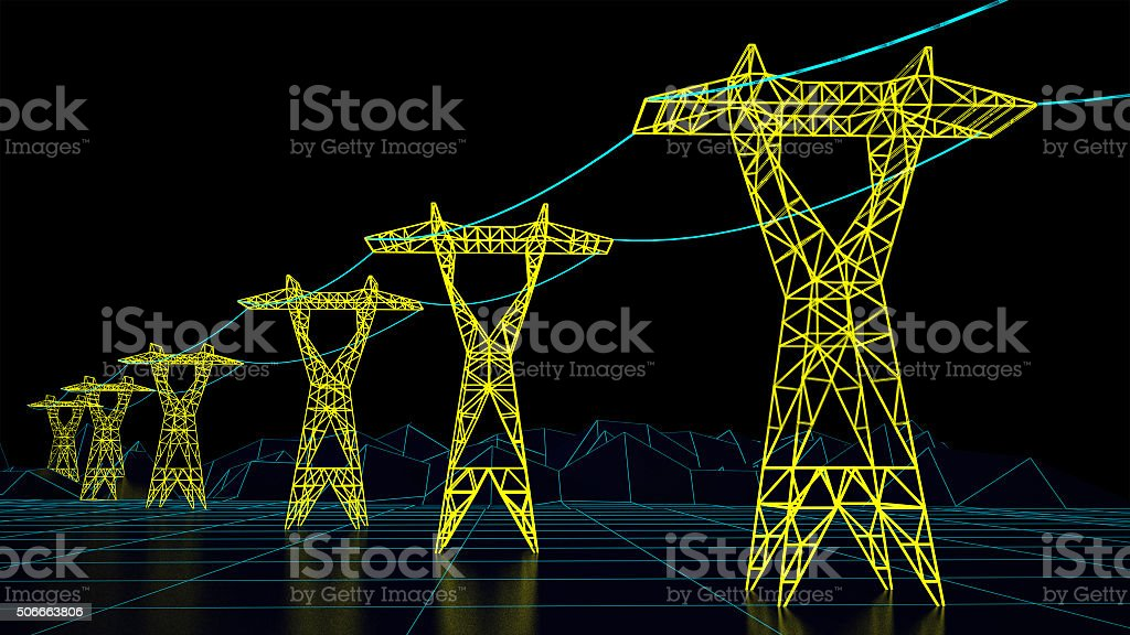 futuristic electrical grid stock photo