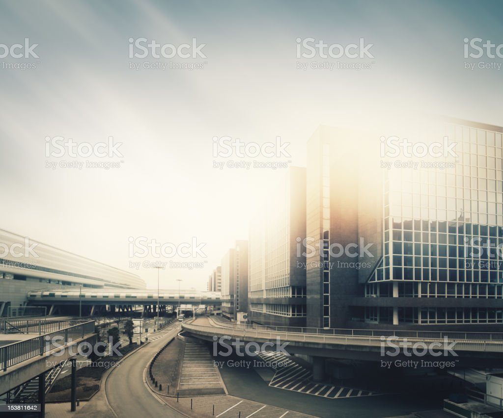 Futuristic empty city stock photo