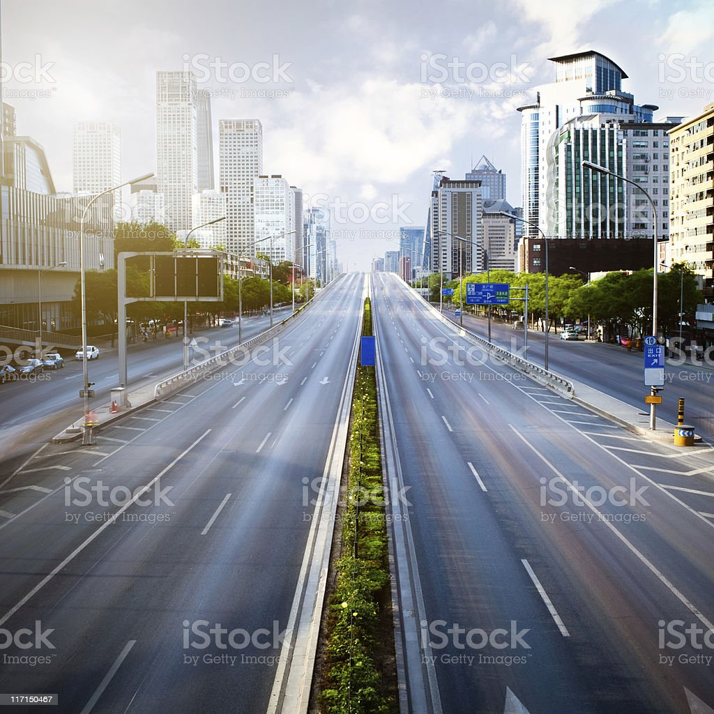 Futuristic empty green city stock photo