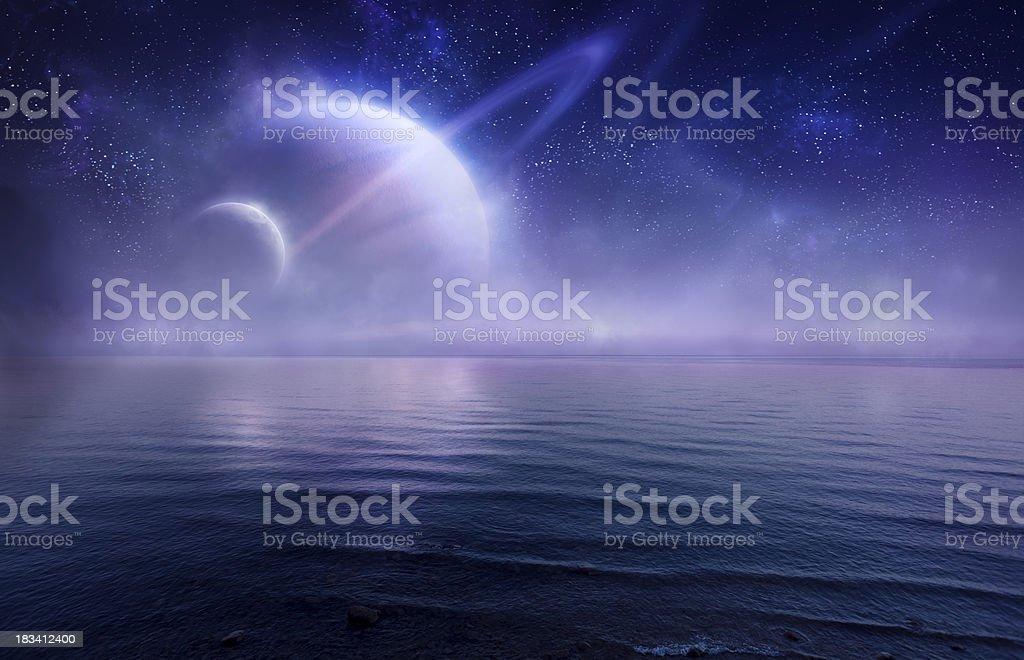 Futuristic evening seascape stock photo