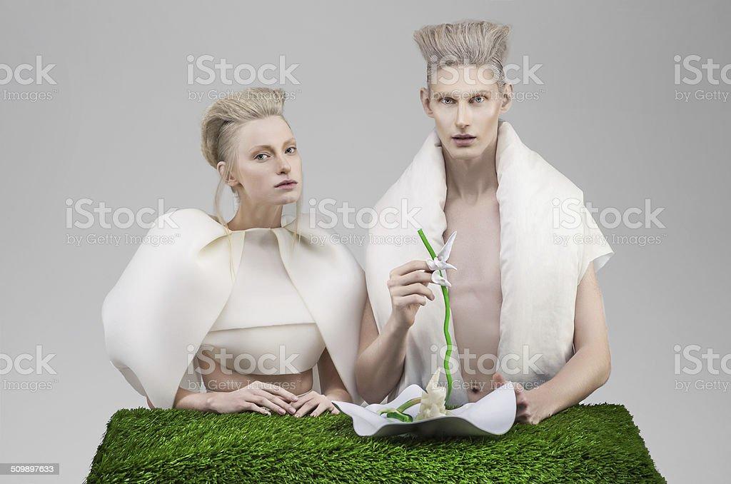 Futuristic family at breakfast royalty-free stock photo