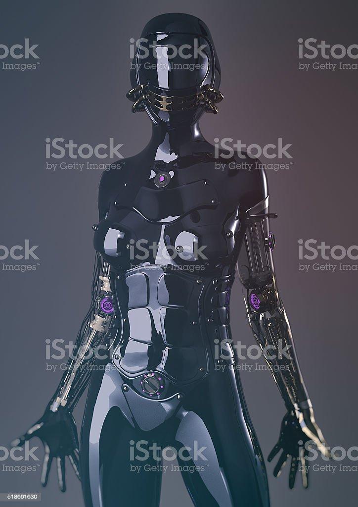 futuristic female cyborg-steam punk stock photo