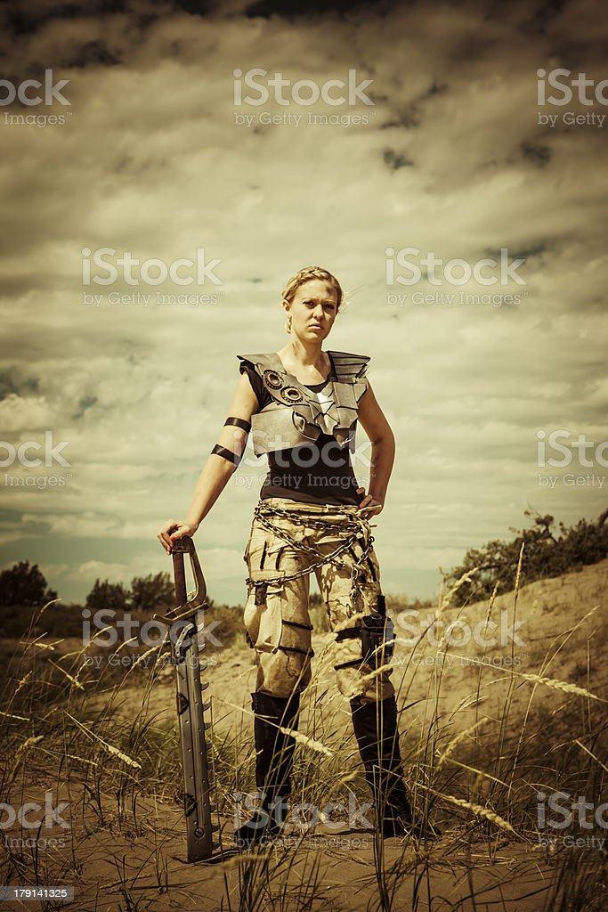 Futuristic Female Gladiator royalty-free stock photo