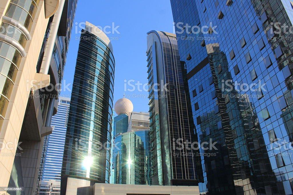 Futuristic financial district - glass buildings. stock photo