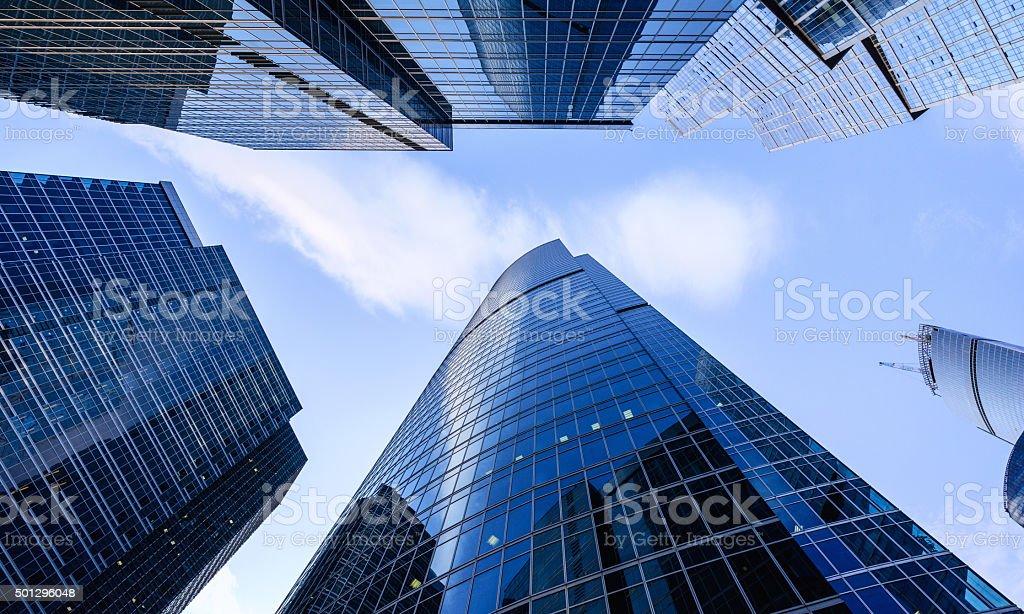Futuristic financial district stock photo