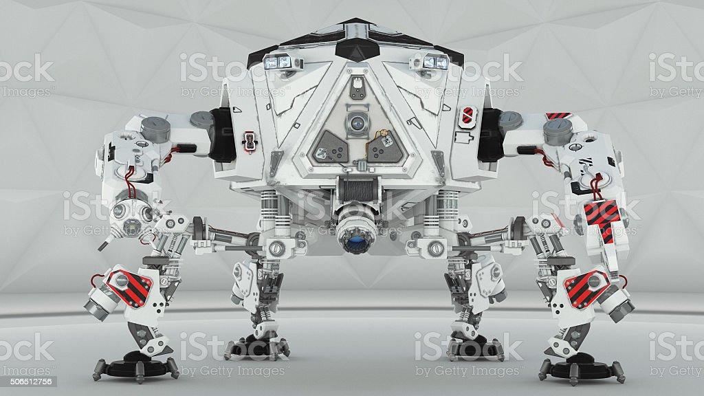 Futuristic four leg robot on white background stock photo