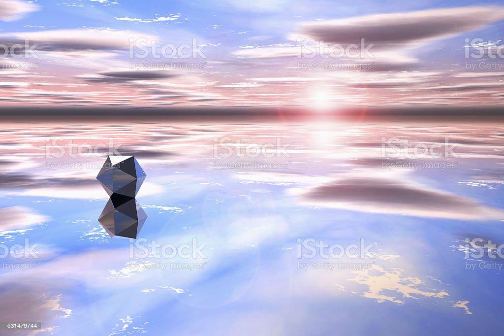 Futuristic geometric shape in a watery landscape stock photo
