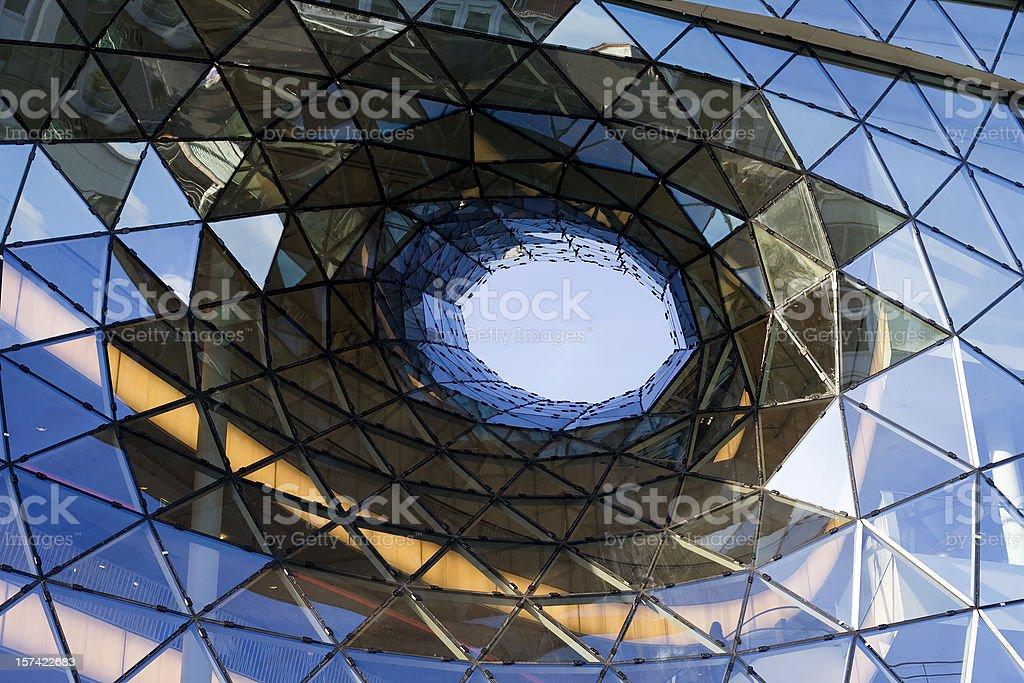 Futuristic glass facade at Zeil Frankfurt royalty-free stock photo
