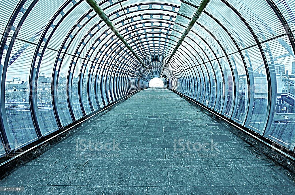 futuristic glass tunnel stock photo