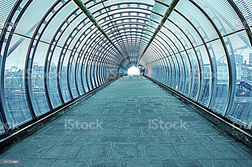 futuristic glass tunnel stock photo