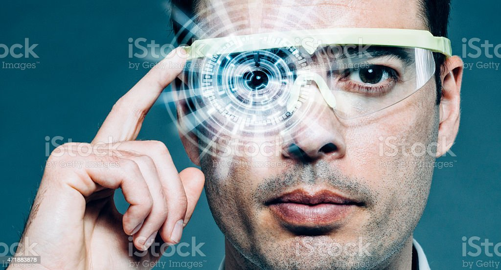 Futuristic glasses with heads-up display and augmented reality stock photo
