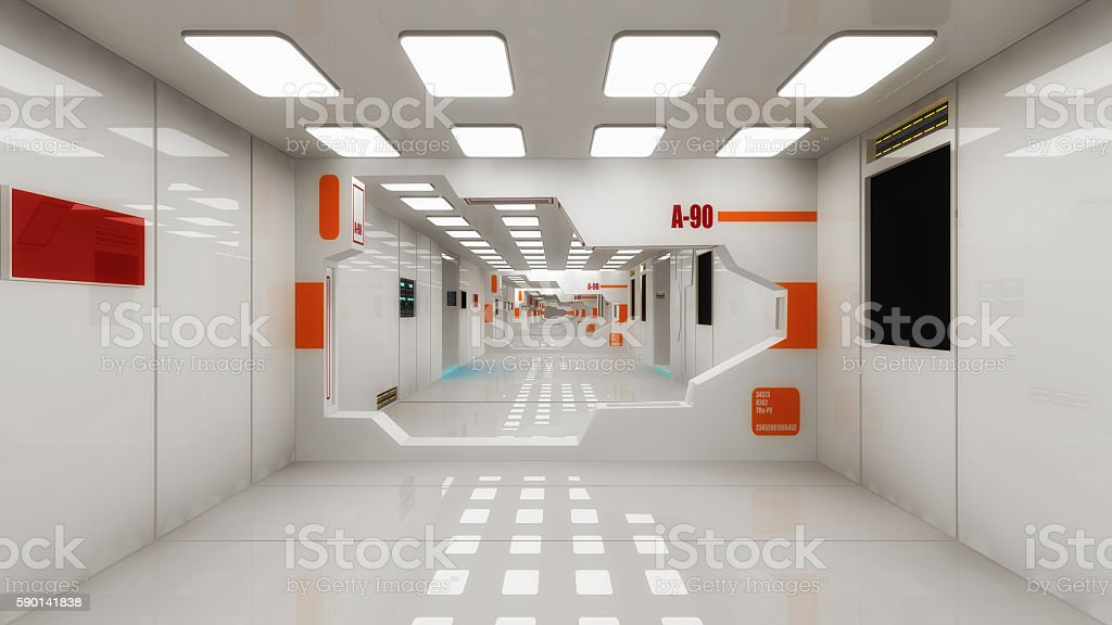 Futuristic hall alien spaceship stock photo