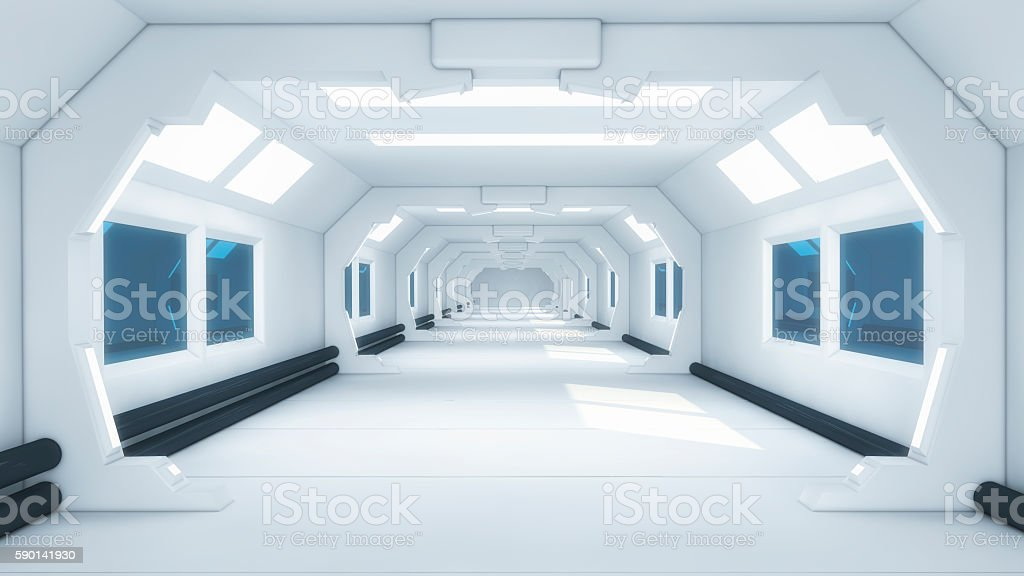 Futuristic hall alien spaceship stock photo
