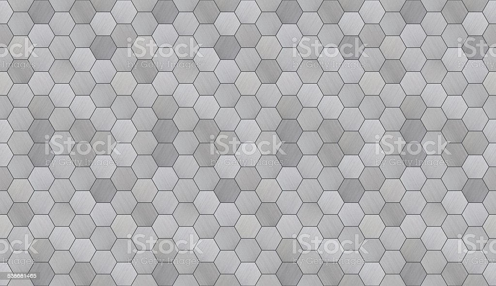 Futuristic Hexagonal Aluminum Tiled Seamless Texture stock photo