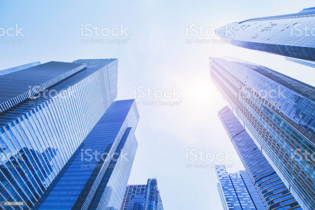 futuristic high tech background, perspective of modern buildings stock photo