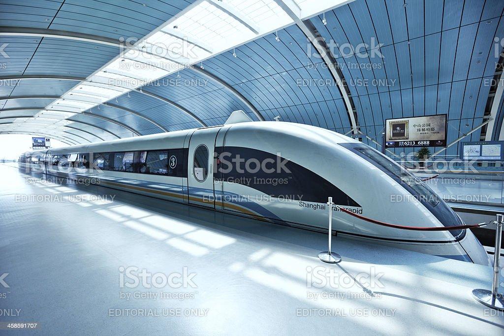 Futuristic high-speed train in China stock photo