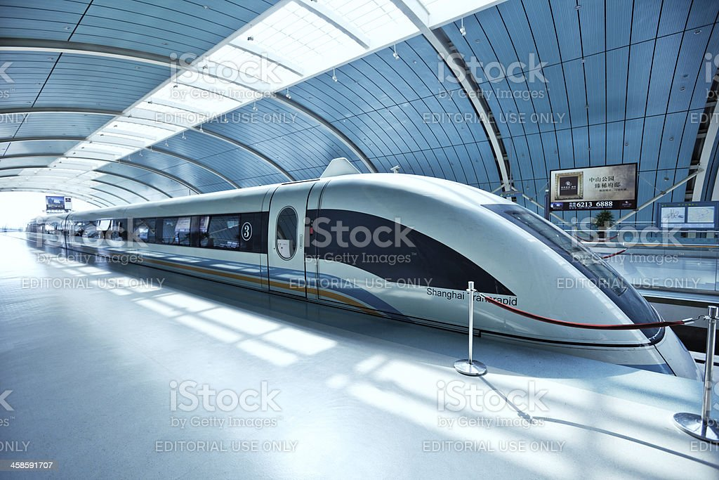 Futuristic high-speed train in China stock photo