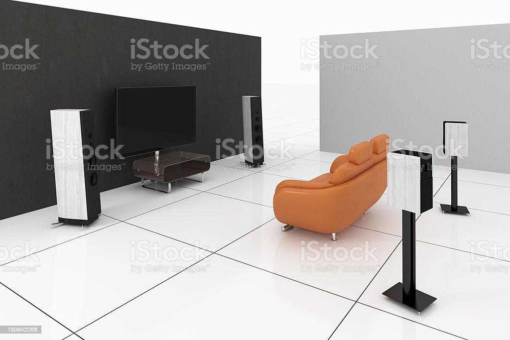 Futuristic home theater stock photo