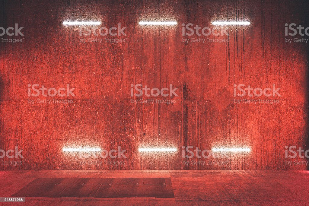 Futuristic illuminated red wall, background stock photo