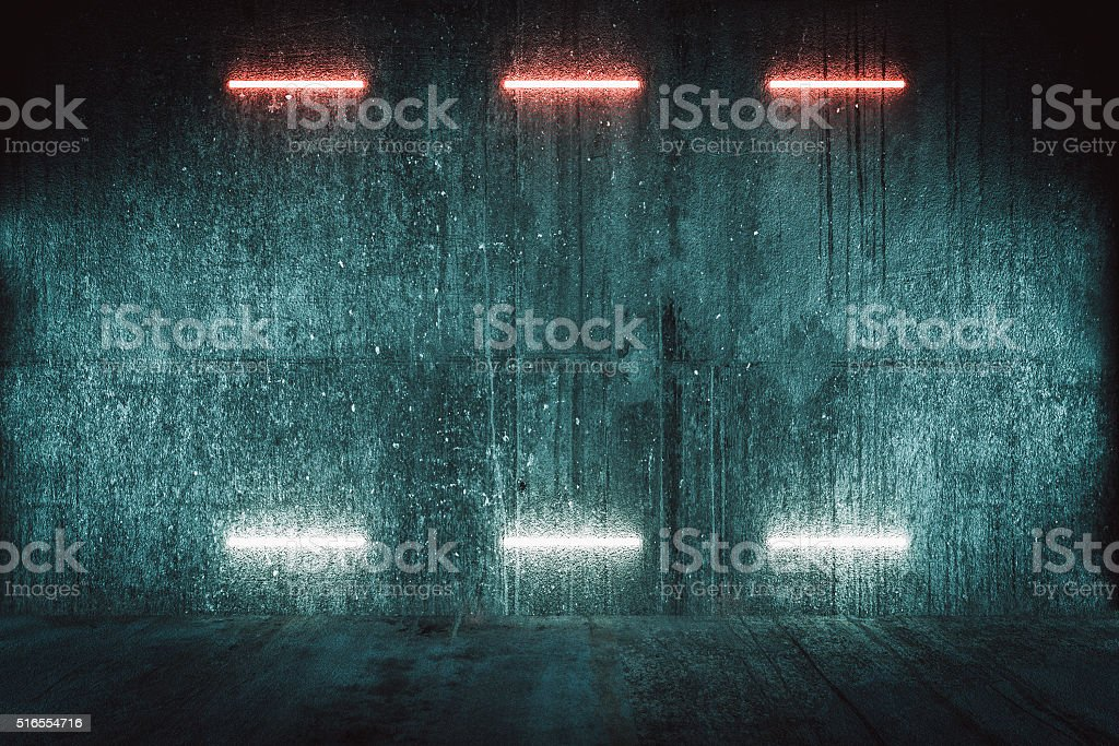 Futuristic illuminated red wall, background stock photo
