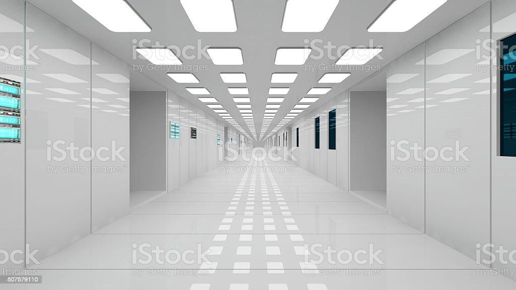 Futuristic interior corridor stock photo