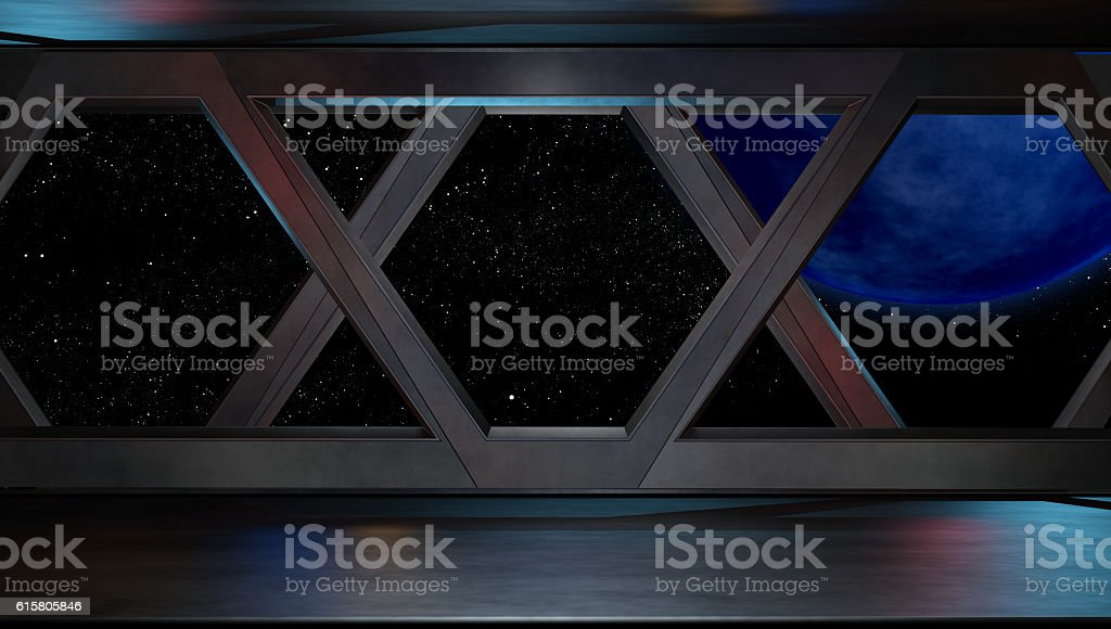 Futuristic interior corridor stage.3D rendering stock photo